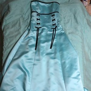 Teal Prom Dress with Black Ribbon